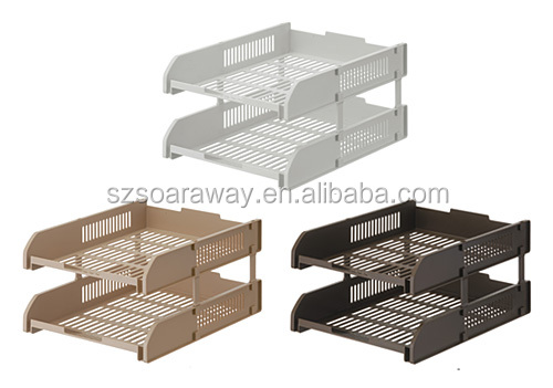 Good quality plastic two-tier stacking file tray office file letter tray