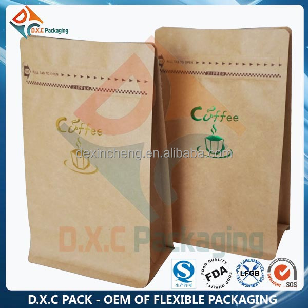 Quad Sealed Flat Bottom Paper Pouch For Food grade With Zipper