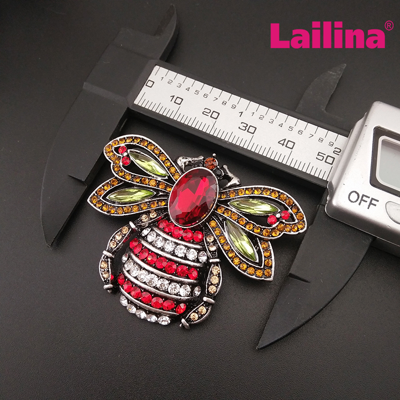 High Quality Colored Bee Honeybee Brooch Pins Bridal Crystal bee Broches Rhinestone Elegant Insect Brooches
