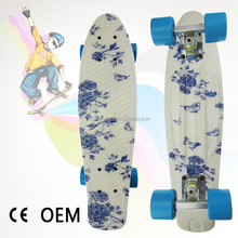 "2017 22"" NEW Flower Blue Graphic Retro Skateboard Longboard"