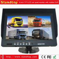 Heavy Vehicle 9 Inch Quad Screen Monitor With Mobile DVR