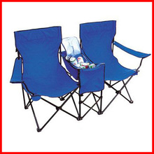 Outdoor Cooler Beach Double Folding Camp Chair with Umbrella