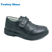 Teenager boys pure black genuine leather school shoes for children