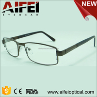 Unisex metal optical glasses frame with spring hinge