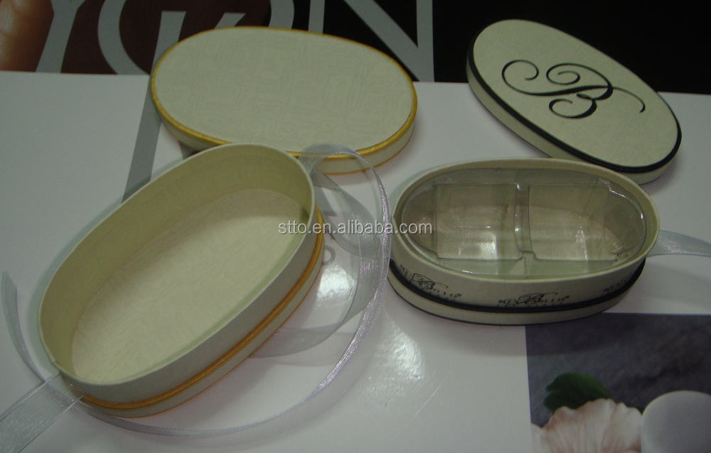 Customized small oval shaped 2pcs truffles paper box with lid & ribbon bow
