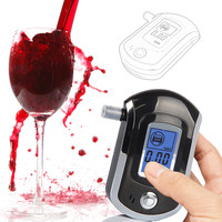 Alcohol Tester AT6000 with Mouthpiece Digital Breath Alcohol Analyser Breathalyser LCD Display Blue Backlit+GIFT