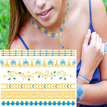 body art women metallic temporary tattoo sex products necklace tatoos gold tatoos metalic Tattoo sticker