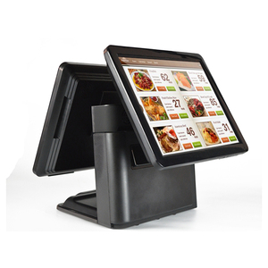 Black color 15 and 15 inch pos dual touch screen monitor desktop all in one cheap pos system with WIFI