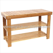 Natural Bamboo Shoe Bench 2-Tier Shoe Storage Racks Shelf