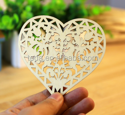 laser cut blank unfinished natural crafts wood heart love ,wedding ornaments wood love heart