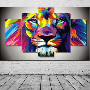 Factory dierct Modern Wall Decoration oil painting Art Printed Canvas Prints 5panels colourful lion