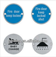 76 series High quality Stainless steel toilet door Number Warining Indication Signs