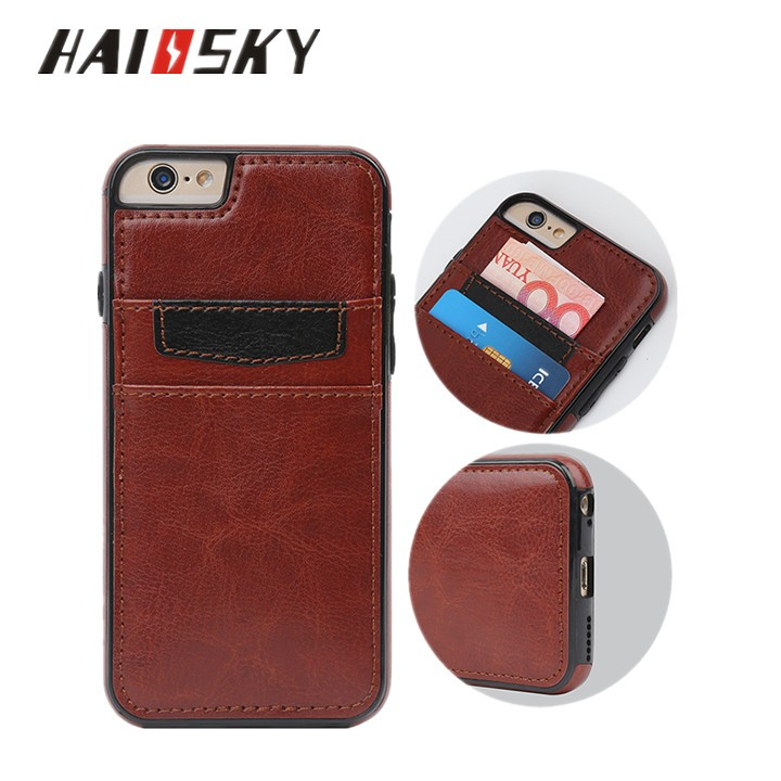 HAISSKY new design mobile phone case for iphone 7 genuine leather case,back cover case for iphone 7plus