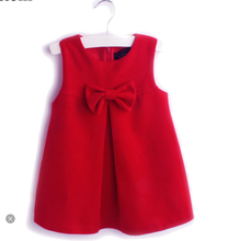 Baby Party WeddingDresses Girls Red Dress Autumn Winter Baby Woolen Princess Dress Red Vest Dress for 2-3-4-5 years old Gir