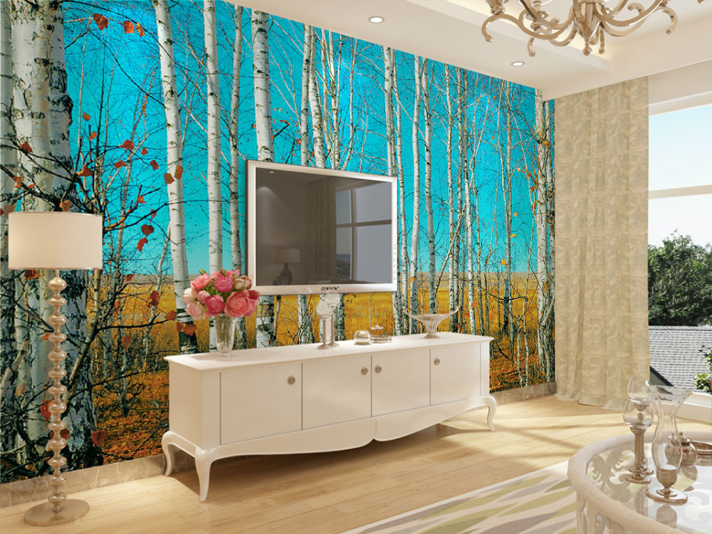 Tears Off Behang : Home decor wall papers birch tree photo behang mural stickers