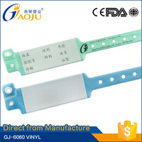 GJ-6060 17 years manufacture experience Bottom price custom hospital wristbands bracelet write name patient id bands