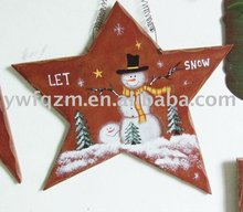 Christmas wooden hanging star decoration