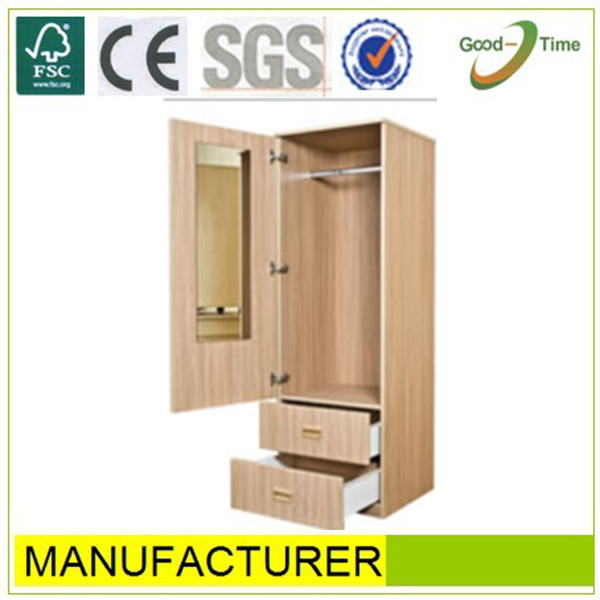 Cabinet Design For Clothes 1 door + 2 drawer wooden grain pvc melamined mdf simple cheap