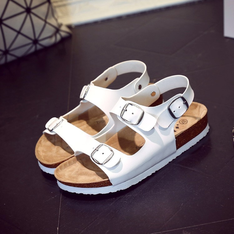 New design Ladies sandals cork slippers Microfiber leather peep-toe Summer shoes for Women flat sandals buckle beach shoes