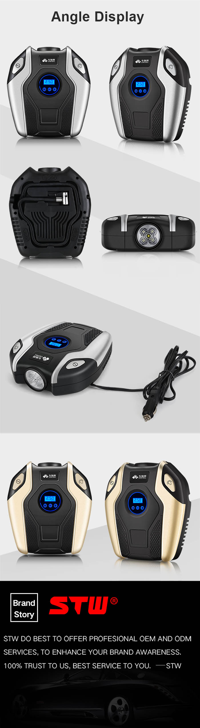 2018 New Portable 12V Electric Automatic Digital Car Air Compressor Pump Tire Inflator with Pressure Gauge