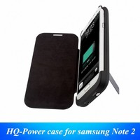 4200 mah portable power bank charger external backup battery case cover charger with PU leather flip for samsung galaxy Note 2