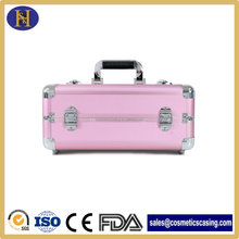 aluminum suitcase makeup pink leather cosmetic case