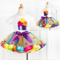 Children Rainbow Gauze dance skirt Baby girl Tutu Rainbow dress Princess Skirt