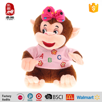 Fashionable best baby plush monkey toy wear bow and pink clothes