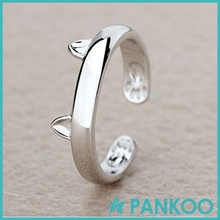 Sterling Silver Cat Ears Ring Design Cute Fashion Jewelry Cat Ring For Women Young Girl Child Gifts Adjustable Anel Wholesale