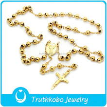 Hot Gold-plated Men Rosary Beads Necklace Stainless Steel Religion Jewelry Women Cross Jewelry Accessories