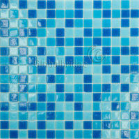 Hot glass mosaic glass tile Dots series blue mixture / swimming pool mosaic tiles