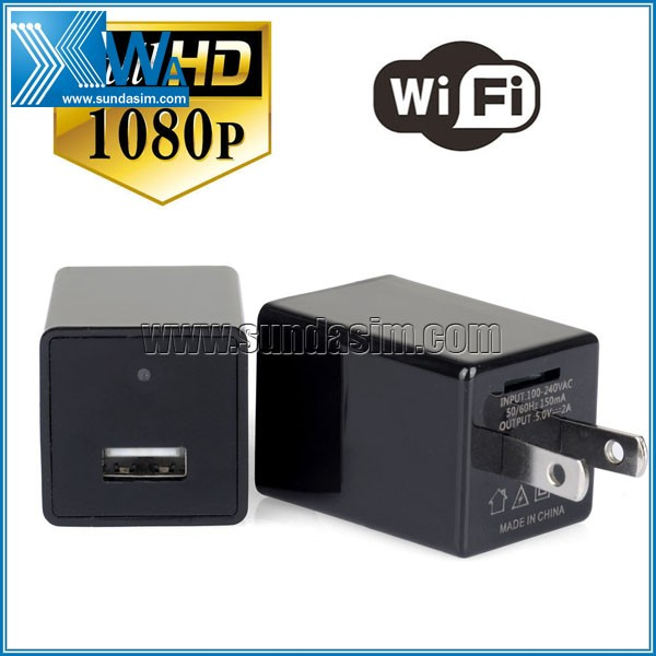 Black Mini Wifi USB Adapter Hidden HD Camera 1080P Covert Nanny Wall Charger Camera Home Surveillance and Security
