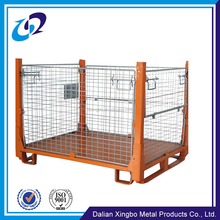 Cargo storage equipment used low price steel collapsible wire mesh pallet container for sale