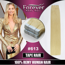 Wholesale double drawn 100 remy European Skin Weft glue tape/PU human hair extension