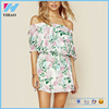2016 Summer Latest Floral Dress Designs Photos Off Shoulder design hot sell Party fancy Dresses China Dongguan manufacturer