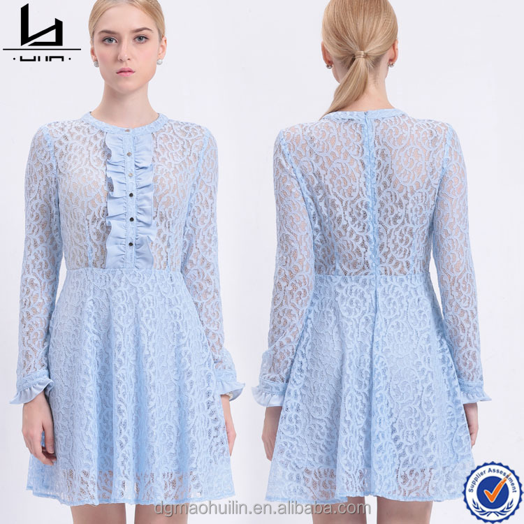In stock items o neck with lotus leaf long sleeve light blue lace chiffon short bulk wholesale clothing women 's casual dress