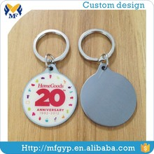 custom made round promotional metal keychain, key ring