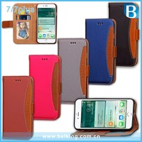 Unique contrast color design genuine leather flip cover wallet case for iphone 7, for iphone 7plus case