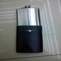 8oz Sanding stainless steel hip flask with a leather bag