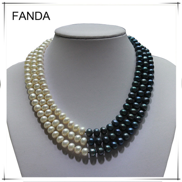 3 strand freshwater pearl necklace design/the latest real pearl necklace pattern