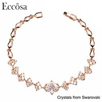 Eccosa Cute Flower Bracelet Design Anniversary Gift For Girlfriend Cheap Crystal Best Selling Couple Valentines Gifts
