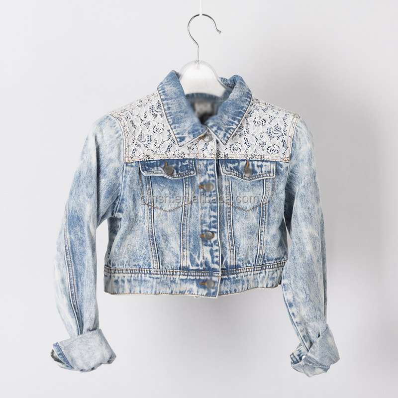 snow wash basic style vintage blue denim women's jacket with lace for girls