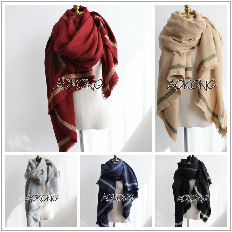5 colors solid plain acrylic warm scarf