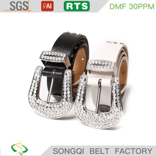 Vintage 37mm women's PU leather Belts with rhinestone buckle garment decorative lady buckle belt