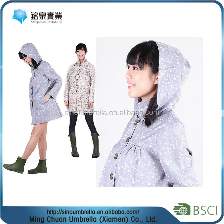 Lady's Polyester dots printing water proof women sexy pvc raincoat , raincoat motorcycle