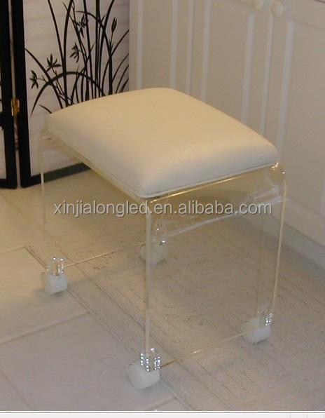 Hot Sale Modern Acrylic Vanity Stool Perspex Shower Stool
