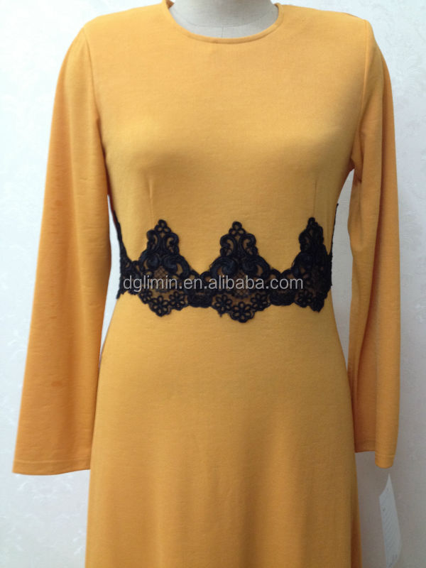 cream orange lace waist abaya from factory also supply kaftan jubah robes