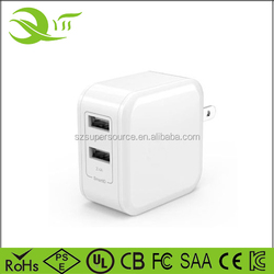 24W 4.8A 5V dual port wall charger US folding plug 2 port usb charger for iphone 8 7S 7 6S 6, HTC ONE, LG, Tablets