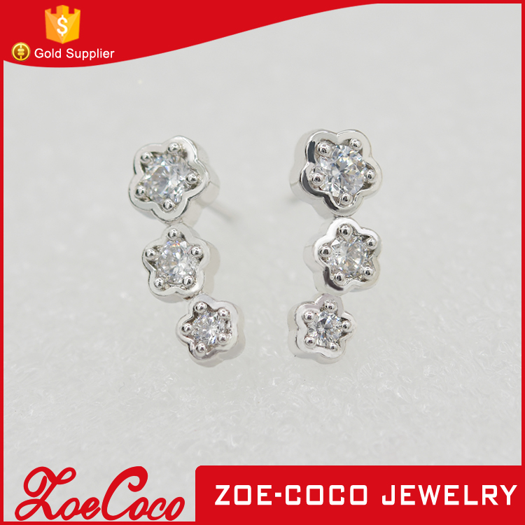 Women wholesale Fashion Jewelry Steel casting Zircon Stud Earring