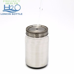 20oz Size Mason Jar With Stainless Steel Lid And Straw,Stainless Steel 304 Single Wall Glass Mason Jar For Customized Design